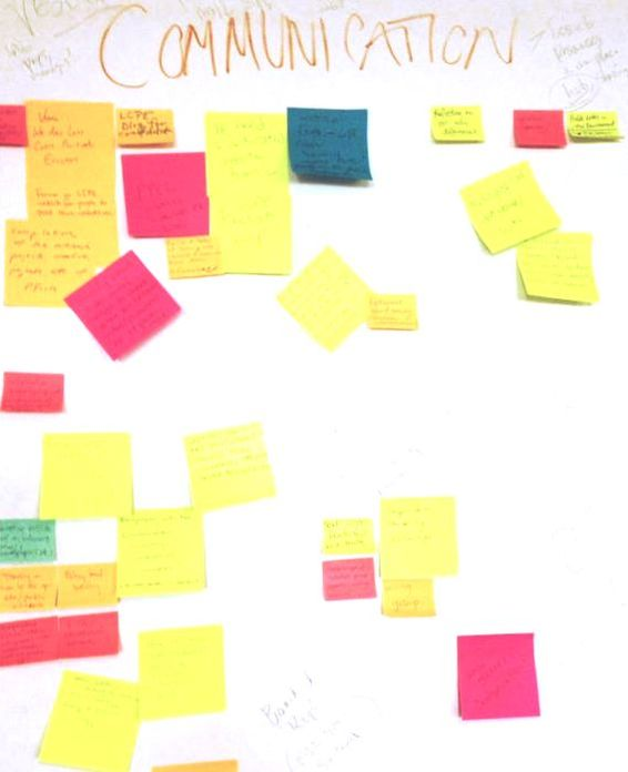 Brightly colored sticky notes, with ideas for how to communicate political ecology research, dot a large piece of butcher paper.
